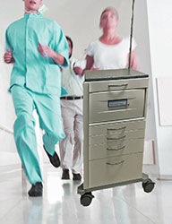 Doctor & Nurses Running with Cart